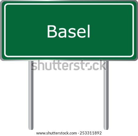 Basel,  Switzerland, road sign green vector illustration, road table - stock vector