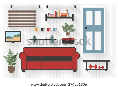 Basement Furniture Flat Icons with Exercise Weights - All Long Shadows on one layer - contains blends  - stock vector