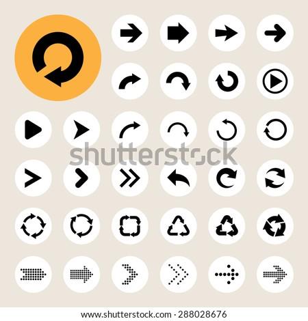 Basic arrow sign icons set. - stock vector