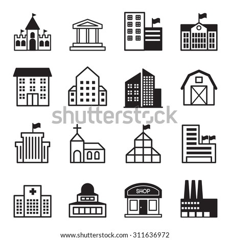 Basic Building icons Set - stock vector