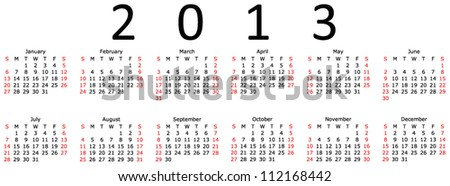 Basic 2013 Calendar in a 6x2 EPS 10 format - stock vector