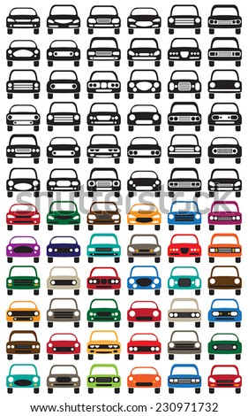 Basic Car Icons.  Colour and Black. - stock vector
