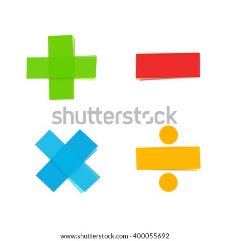basic colorful mathematical symbols plus minus multiply divide - stock vector