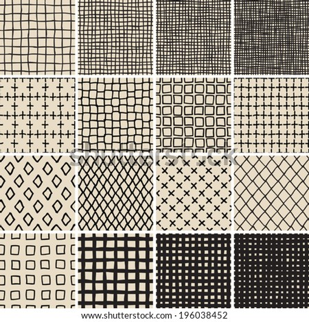Basic Doodle Seamless Pattern Set No.7 in black and white is collection of 16 simple repetitive patterns. Illustration is in eps8 vector mode, background on separate layer.  - stock vector
