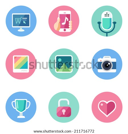 Basic Flat icon set for Web and Mobile Application. Computer equipment and life - stock vector