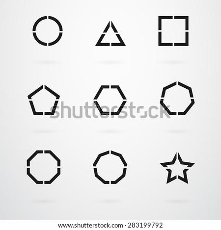 Basic Geometric Shapes Vector Icon Set - stock vector