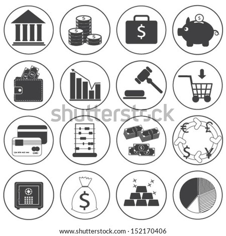 Basic Money Icons Vector Collection