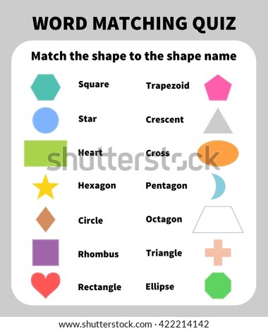 Basic Shapes Matching Quiz. Learning 2D shapes for children education. Learn basic geometric shapes with preschool kids. Elementary two dimensional shapes - stock vector