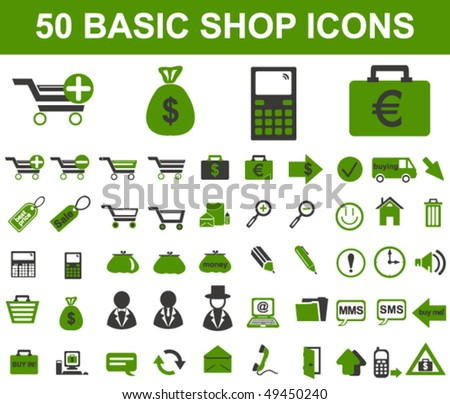 Basic Shop Icons - stock vector