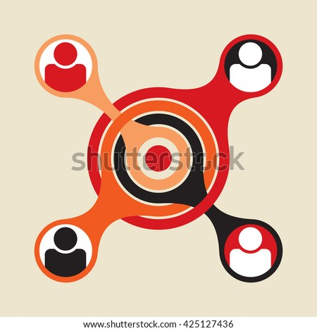 basic social group formed around central node to which all other nodes are connected - stock vector
