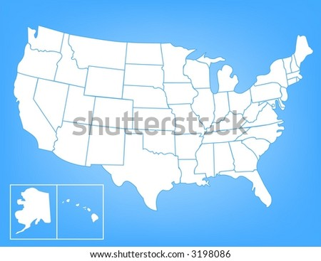 Basic Vector Map of the United States - stock vector