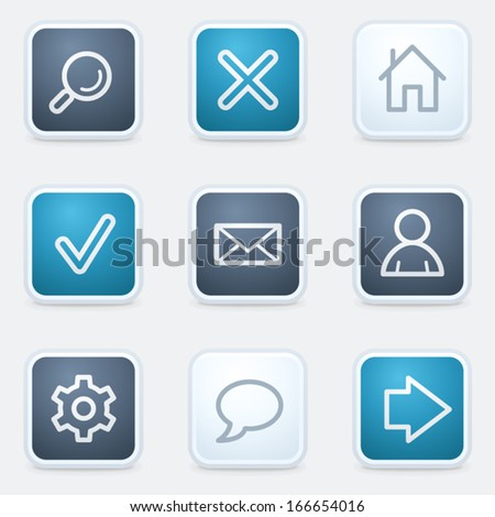 Basic web icon set, square buttons - stock vector