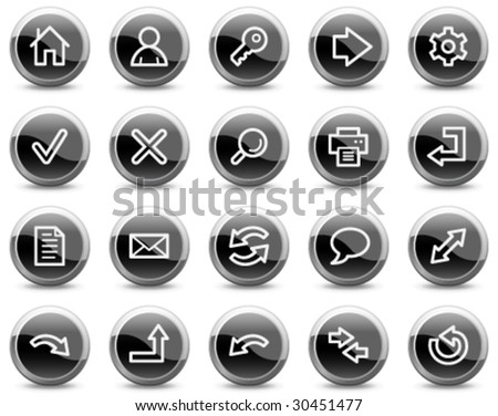 Basic web icons, black glossy circle buttons series - stock vector