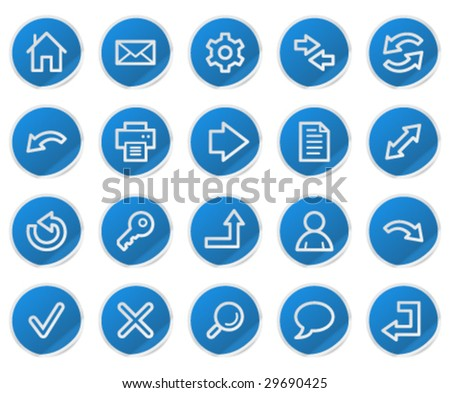 Basic web icons, blue sticker series - stock vector