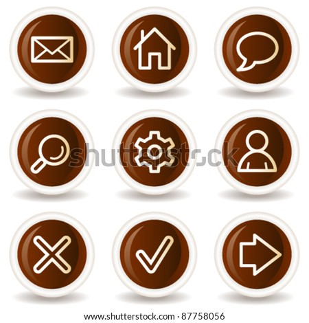 Basic web icons, chocolate buttons - stock vector