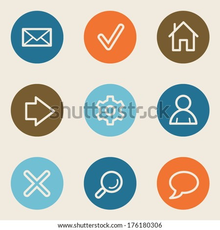 Basic  web icons, color circle buttons - stock vector