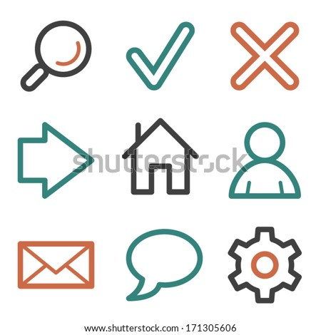 Basic web icons, contour series - stock vector