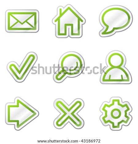 Basic web icons, green contour sticker series - stock vector
