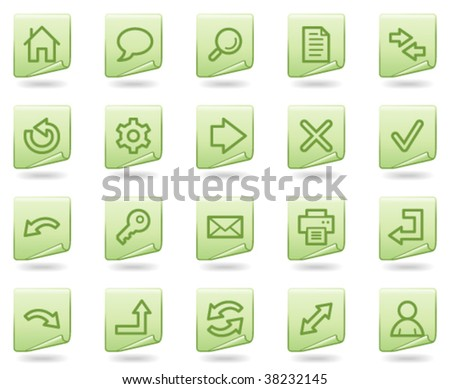 Basic web icons, green document series - stock vector