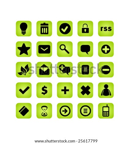 Basic web icons, green glossy buttons series