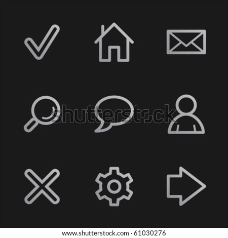 Basic web icons, grey mobile style - stock vector