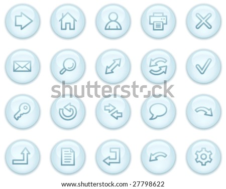 Basic web icons, light blue circle buttons series - stock vector