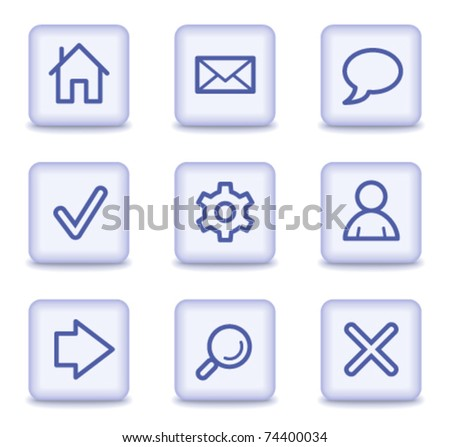 Basic web icons, light violet glossy buttons - stock vector