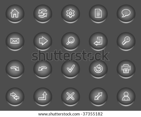 Basic web icons, metal circle buttons series - stock vector
