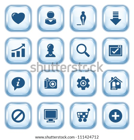 Basic web icons on glossy buttons. - stock vector