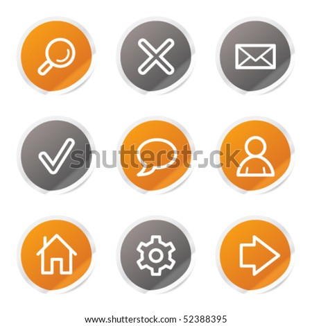 Basic web icons, orange and grey stickers - stock vector