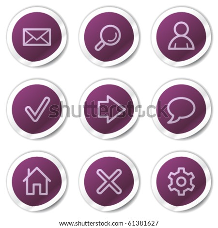 Basic web icons, purple stickers series - stock vector