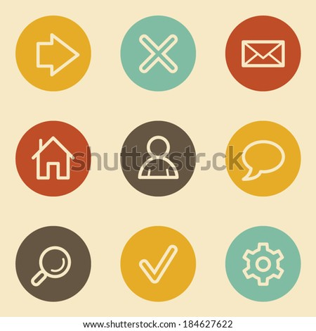 Basic  web icons, retro circle buttons - stock vector