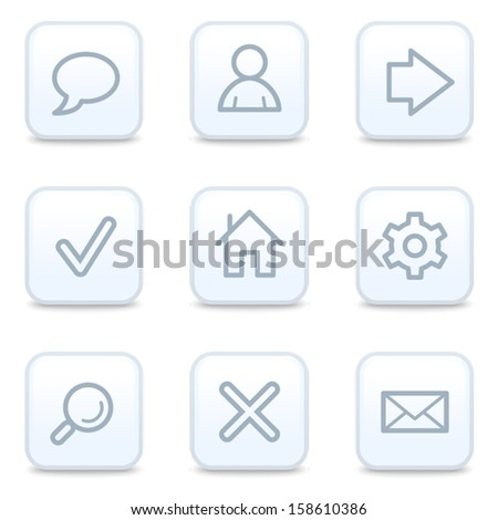 Basic web icons, square buttons - stock vector