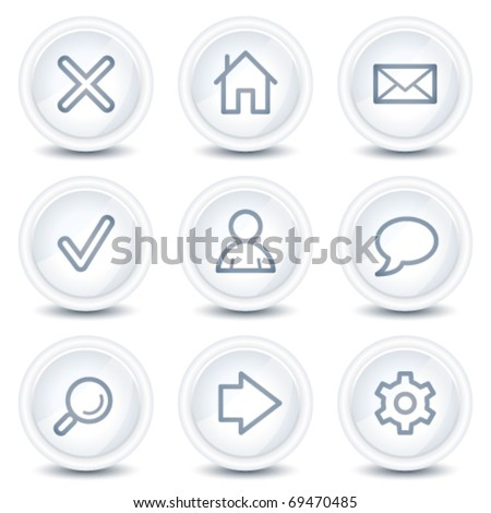 Basic web icons, white glossy circle buttons - stock vector