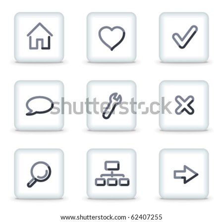 Basic web icons, white square glossy buttons - stock vector