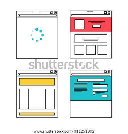 Basic website layout illustrations in flat style - stock vector