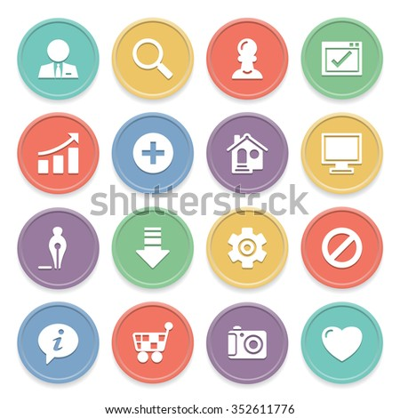 Basic white icons on color buttons. - stock vector