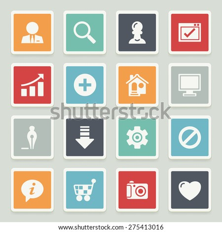 Basic white icons with buttons on gray background. - stock vector