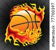 basket ball in flame - stock vector