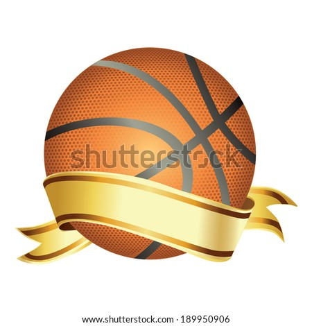Basket ball with banner vector - stock vector