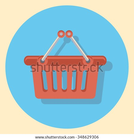basket flat icon in circle - stock vector