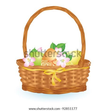Basket full of Easter eggs - stock vector