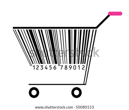 basket with bar-code - stock vector
