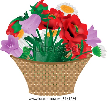 Basket with bright flowers