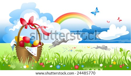 Basket with eggs by spring meadow - stock vector