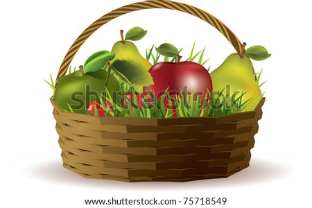 Basket with fruits isolated on white
