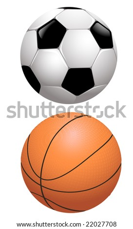 Basketball and football, vector illustration, EPS file included