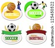 Basketball and footballs icons isolated on white. Vector illustration sport templates - stock vector