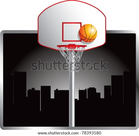 Basketball backboard and hoop in the city