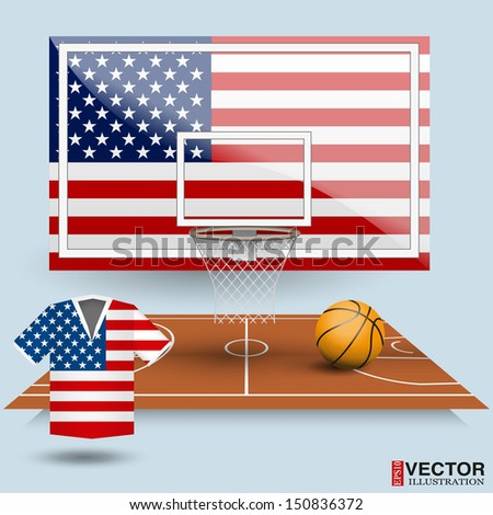 Basketball backboard, basket, court,  ball and t-shirt in the colors of the U.S. flag - stock vector